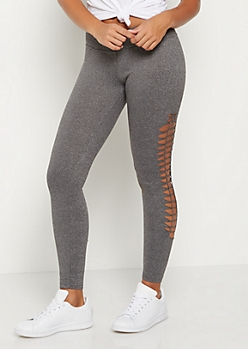 Heather Gray Macrame Soft Knit Legging