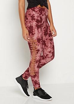 Pink Tie Dye Macrame Soft Knit Legging