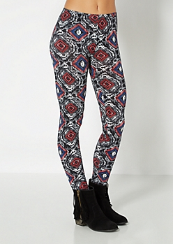 Graphic Diamond Print Brushed Legging