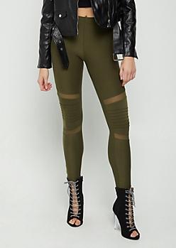 Olive Moto & Mesh Legging