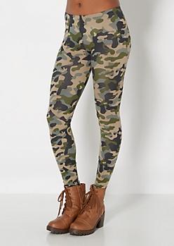 Olive Green Camo Legging