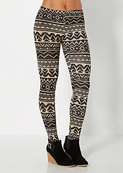 Black & Tan Tribal Chevron Legging