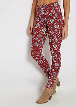 Burnt Orange Floral Soft Knit Legging