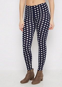 Navy & White Polka Dot Legging