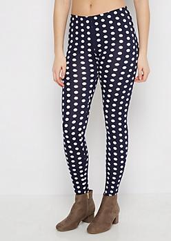 Navy & White Polka Dot Legging