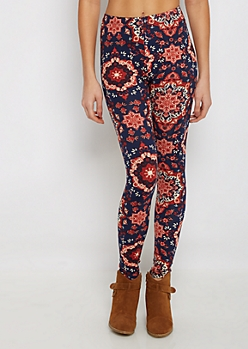 Mirrored Folklore Floral Soft Knit Legging