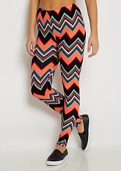 Coral Pop Geo Chevron Legging