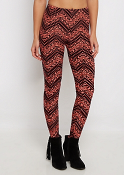 Coral Tribal Chevron Legging