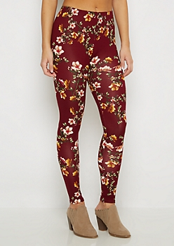 Burgundy Rose Soft Knit Legging