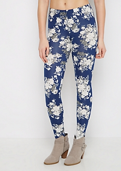 Blue & Gray Floral Legging
