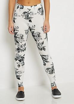 Gray & White Rose Legging