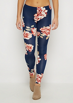Navy Oversized Rose Legging