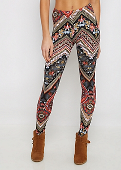 Boho Floral Chevron Soft Knit Legging