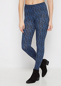 Blue Geo Chevron Tribal Legging