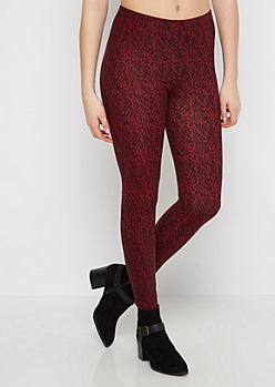 Burgundy Geo Chevron Tribal Legging