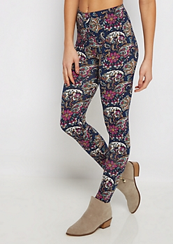 Navy Boho Paisley Soft Knit Legging
