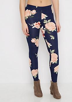 Pink & Navy Rose Legging