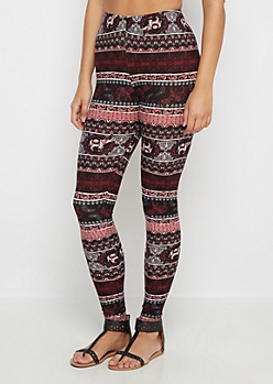 Burgundy Paisley Boho Soft Brushed Legging