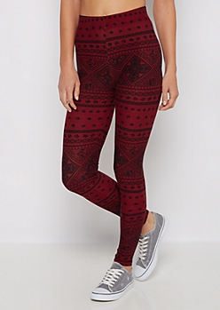 Burgundy Floral Folklore Soft Knit Legging