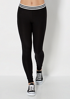 Striped Band Soft Brushed Legging