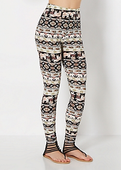 Boho Elephant March Brushed Legging