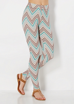 Peach & Mint Chevron Brushed Legging