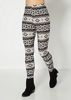 Paneled Aztec Brushed Legging