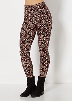 Coral Aztec Diamond Brushed Legging