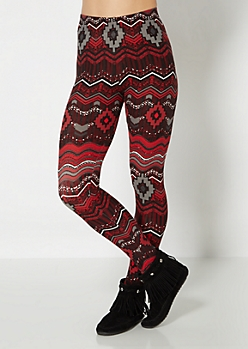 Aztec Chevron Brushed Legging