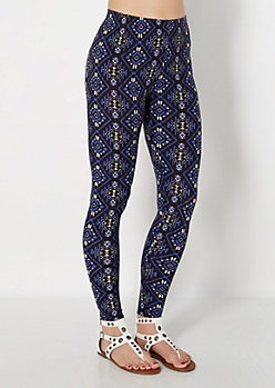 Blue Tribal Diamond Brushed Legging