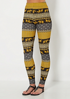 Paneled Paisley Elephant Brushed Legging