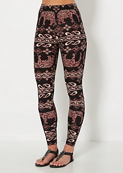 Paisley Fill Elephant Brushed Legging