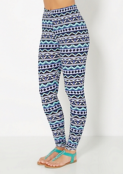 Blue Tribal Chevron Soft Brushed Legging
