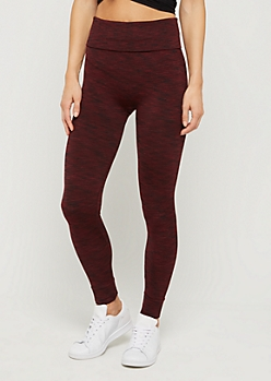 Burgundy Space Dye High Rise Legging
