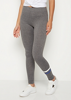 Blue Stripe High Rise Soft Knit Legging