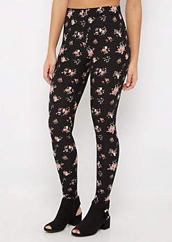 Black Floral Soft Brushed Legging
