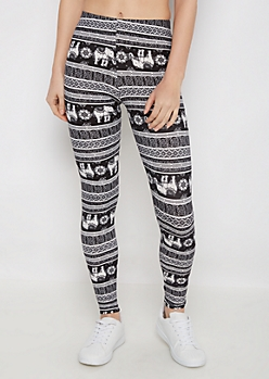Black Boho Elephant March Soft Brushed Legging