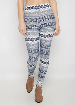 Blue Tribal Diamond Soft Brushed Legging