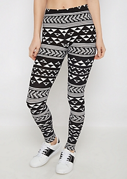 Black & White Geo Soft Brushed Legging