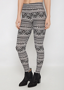 Black Aztec Chevron Soft Brushed Legging