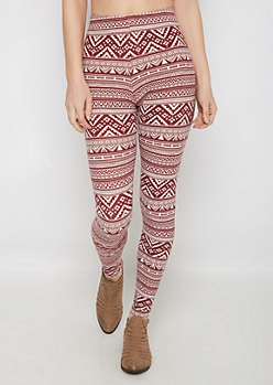 Burgundy Aztec Chevron Soft Brushed Legging