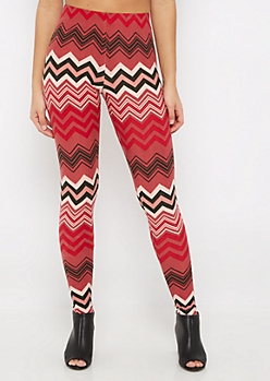 Dusty Pink Chevron Soft Brushed Legging