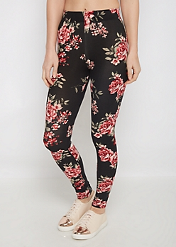 Black Peony Soft Brushed Legging