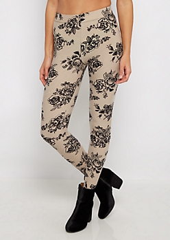 Taupe Floral Soft Knit Legging