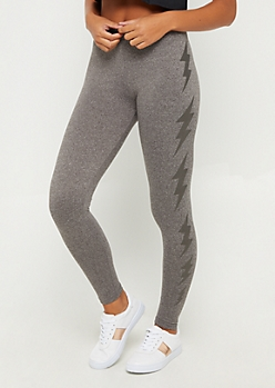 Gray Black Foiled Lightening High Rise Legging