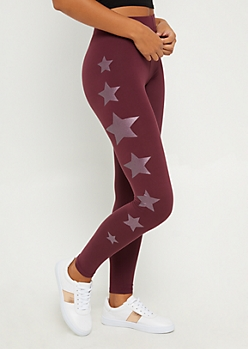 Plum Foiled Star High Rise Legging