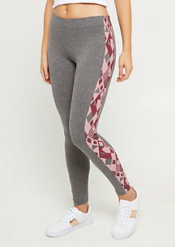 Burgundy & Pink Aztec High Rise Legging