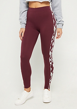 Plum Foiled Lightening High Rise Legging
