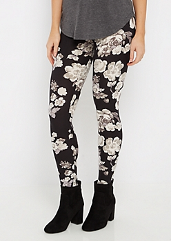 Black Grayscale Flower Brushed Legging