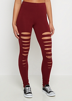 Burgundy Slashed Legging